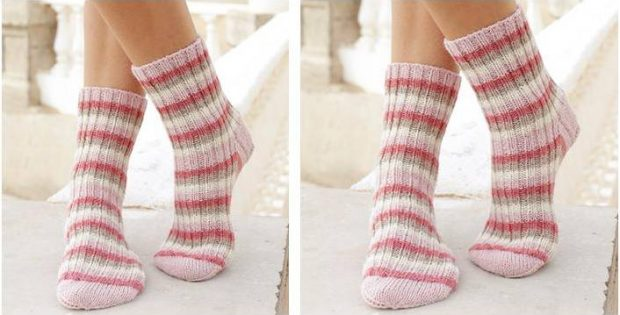 Merry Waves Knitted Ribbed Socks Free Knitting Pattern