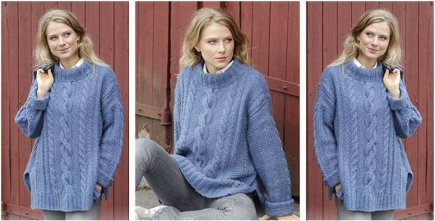 Midnight Cables Knitted Sweater Free Knitting Pattern
