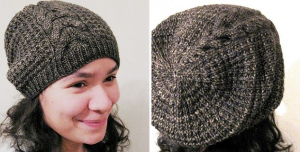 d5a39b57 Molly Knitted Slouchy Hat With A Cable [FREE Knitting Pattern]