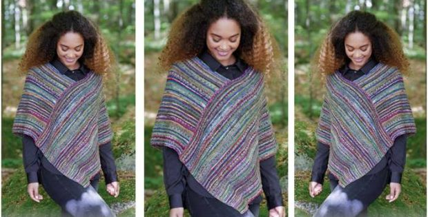 Monaco Stripes Knitted Poncho Free Knitting Pattern