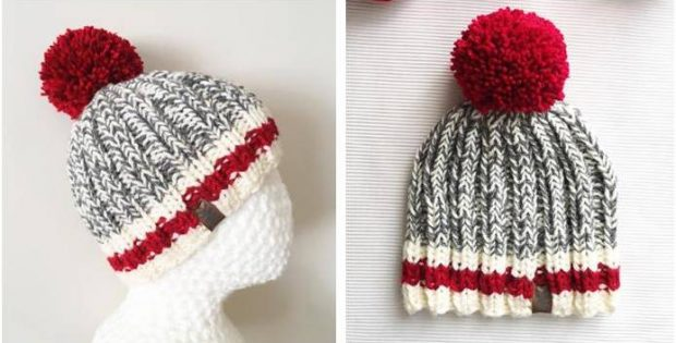 Monkey Stripes knitted pompom hat | the knitting space