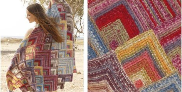 Moroccan Colors Knitted Blanket Free Knitting Pattern