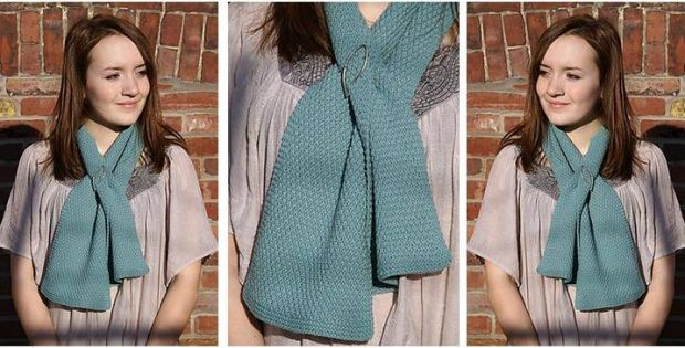 Nordique Moss Knitted Scarf Free Knitting Pattern