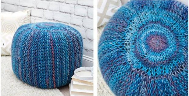 Pretty Pop O' Color Knitted Pouf [FREE Knitting Pattern] Mesmerizing Turquoise Knitted Pouf