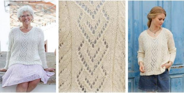 Precious Pearl Knitted lace sweater | the knitting space