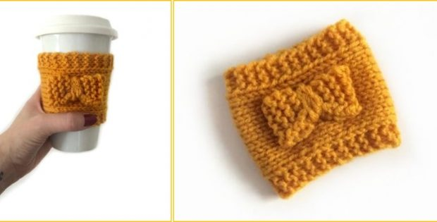 Pretty Knitted Coffee Sleeve Free Knitting Pattern