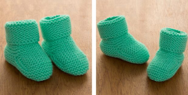 Garter-Stitch Knitted Baby Booties