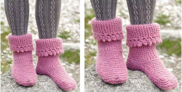 Raspberry Frills knitted slippers | the knitting space