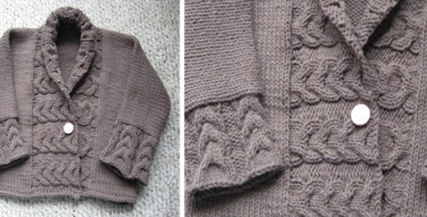 Reverse Cable Rib Knitted Baby Jacket [FREE Knitting Pattern]
