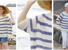 Riviera Stripes knitted raglan sweater | the knitting space