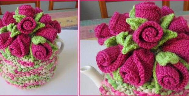 rosebuds knitted tea cosy | the knitting space