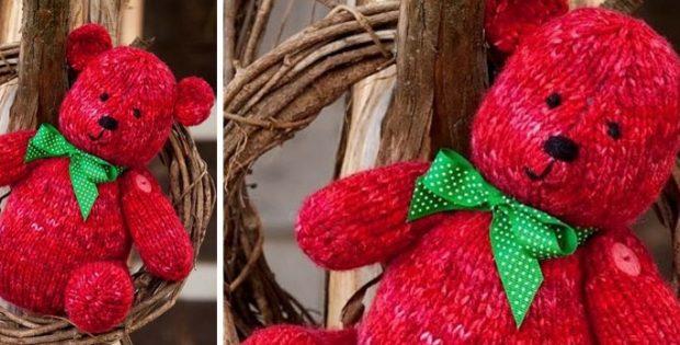 Cuddly Ruby Knitted Teddy Bear Free Knitting Pattern