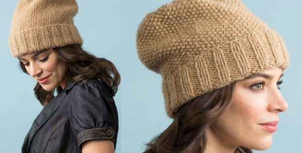 Camel Seed Stitch Knitted Slouchy Hat Free Knitting Pattern