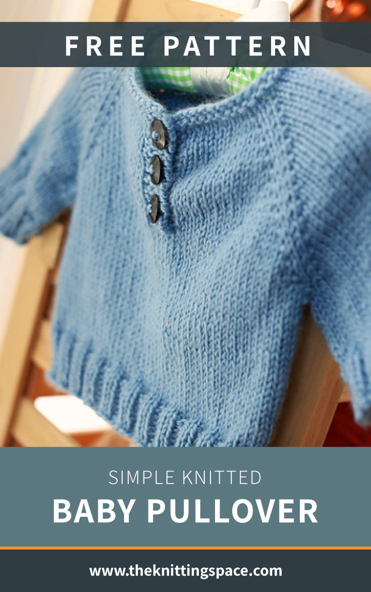 """Photo of a blue knitted baby cardigan and text which says """"Free Pattern: Simple Knitted Baby Pullover, theknittingspace.com"""""""