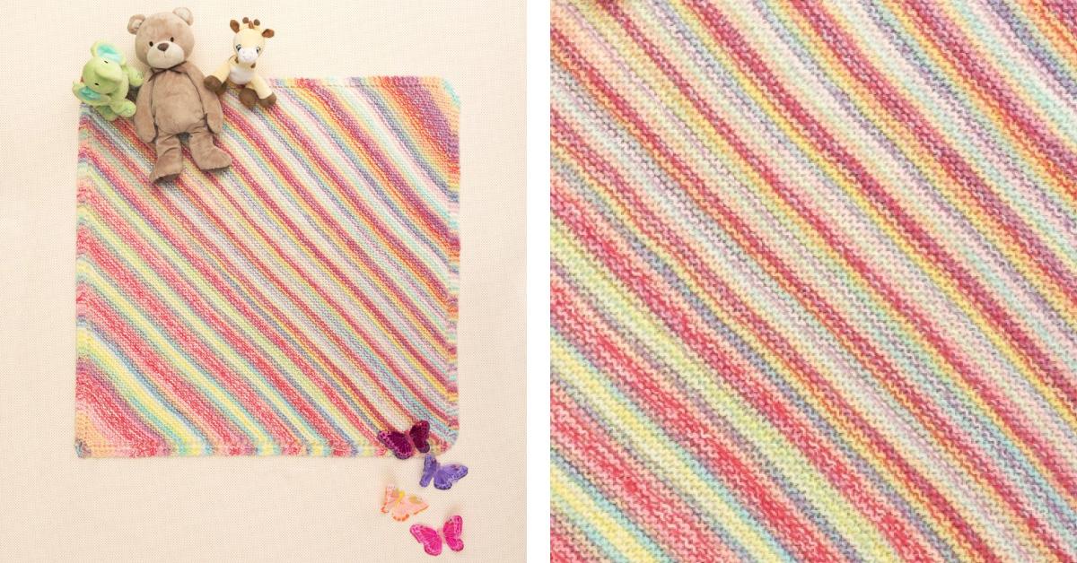 Diagonal Knitted Baby Afghan Free Knitting Pattern