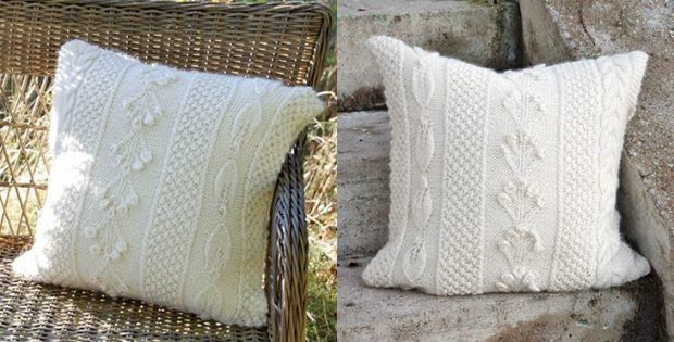 Snow Beads Knitted Pillow Free Knitting Pattern