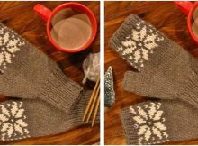 Snow Dear knitted fingerless mitts | the knitting space