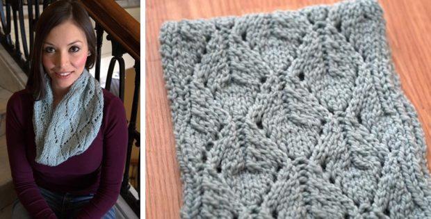 Knitted Split Leaf Neck Warmer Free Knitting Pattern