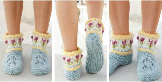 Spring Buds knitted slippers | the knitting space