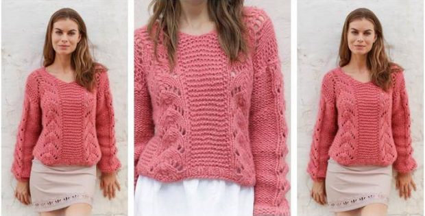 36bd0dd6558df7 Spring Peach Knitted Sweater  FREE Knitting Pattern