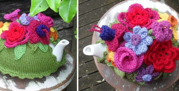 Spring Explosion Knitted Tea Cozy [FREE Knitting Pattern]