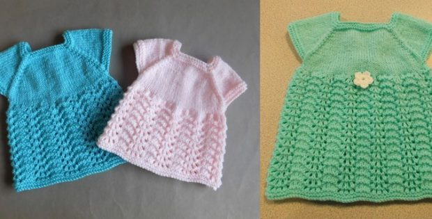 Knitting Pattern Dressing Gown : Sweet Meadow Knitted Baby Dress [FREE Knitting Pattern]
