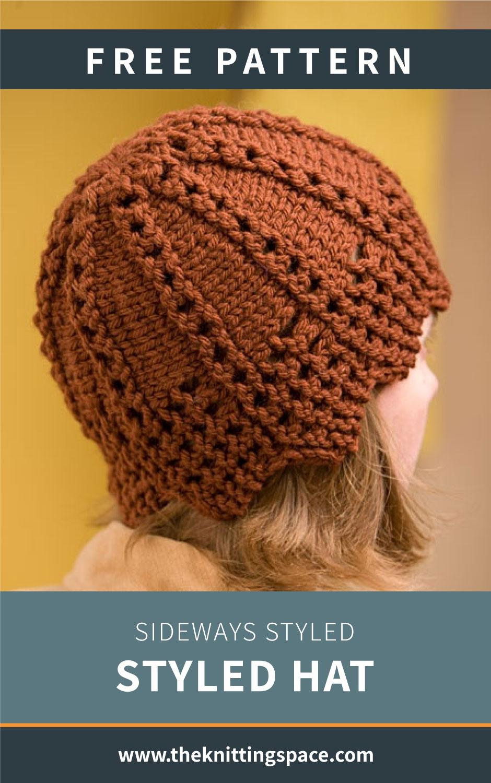 Knit Sideways Styled Hat [FREE Knitting Pattern]