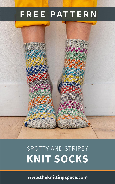 Spotty and Stripey Knit Socks [FREE Knitting Pattern]