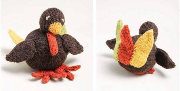 Tiny Turkey Knitted Stuffed Toy Free Knitting Pattern
