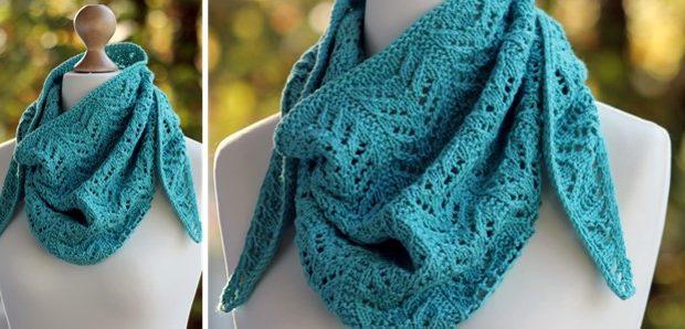 True Blue Knitted Shawlette Free Knitting Pattern