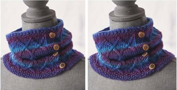 Twists 'N Turns Knitted Cowl [FREE Knitting Pattern]