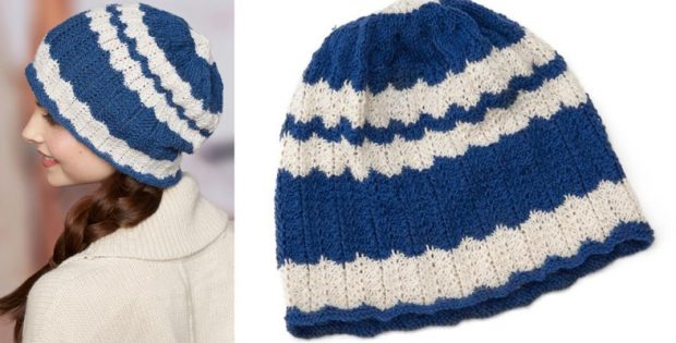 Wavy Knitted Skull Cap Free Knitting Pattern