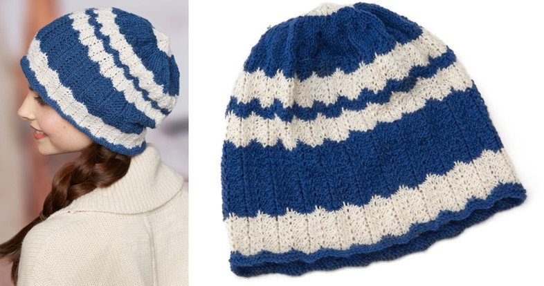 Skull Cap Knitting Pattern : Wavy Knitted Skull Cap [FREE Knitting Pattern]