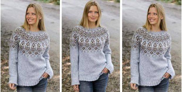 Winter Heart Knitted Nordic Sweater Free Knitting Pattern