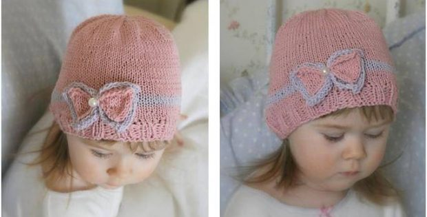 Charming Zoe Bow Knitted Beanie Free Knitting Pattern