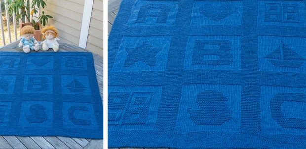 Abc Blocks Knitted Baby Blanket Free Knitting Pattern