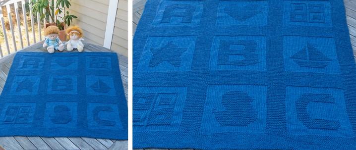 ABC Blocks Knitted Baby Blanket [FREE Knitting Pattern]
