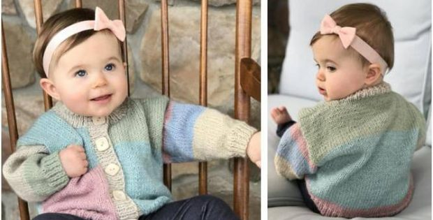 b0666de93 Adorable Knitted Baby Cardigan  FREE Knitting Pattern