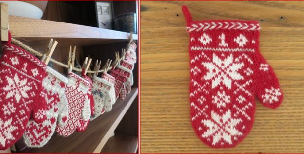 mitten garland knitted Advent calendar | the knitting space