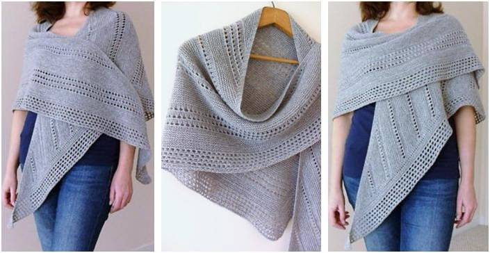 Altitude Knitted Asymmetrical Shawl Paid Knitting Pattern