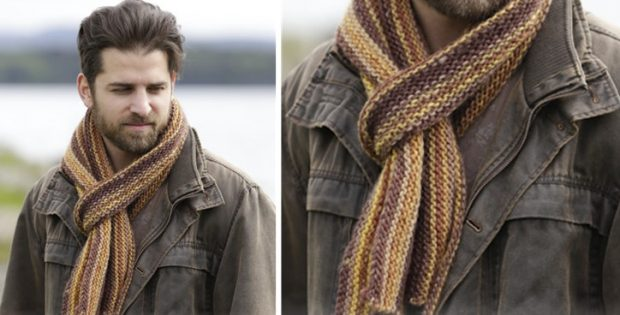 Anchorage Knitted Striped Scarf Free Knitting Pattern