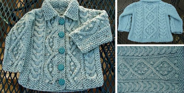 Aquamarine Knitted Baby Cardigan Free Knitting Pattern