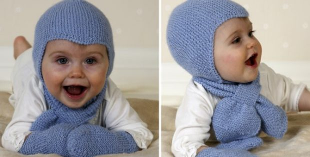 Aviator Knitted Hat Scarf And Mittens Free Knitting Pattern