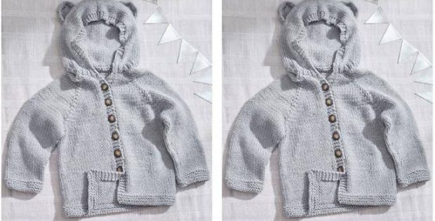 baby bear knitted kiddie hoodie | the knitting space