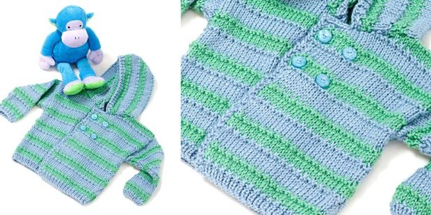 Baby Boy Knitted Hooded Sweater Free Knitting Pattern