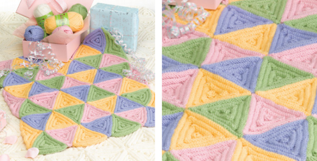 Triangle Knitted Baby Cot Blanket FREE Knitting Pattern