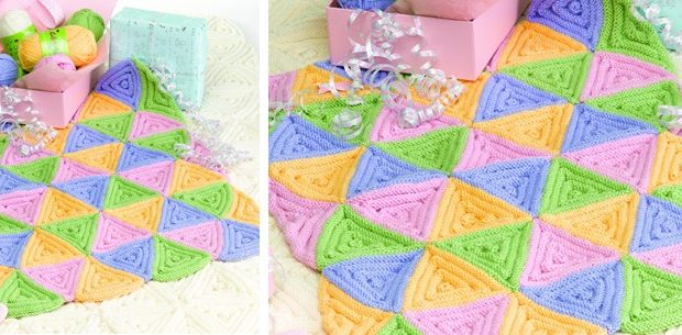ce4b5275e1d2 Triangle Knitted Baby Cot Blanket  FREE Knitting Pattern