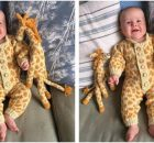 baby giraffe knitted onesie | the knitting space