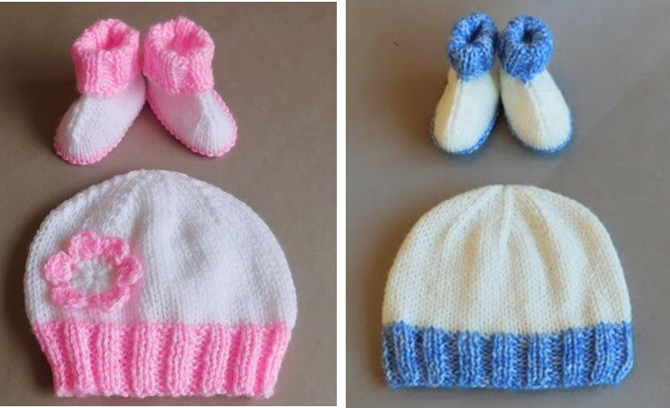 Knitting Pattern Baby Hat And Booties : Knitted Baby Hug Hat And Booties [FREE Knitting Pattern]