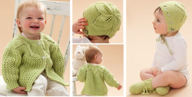 Knitted Leaf And Lace Baby Set Free Knitting Pattern